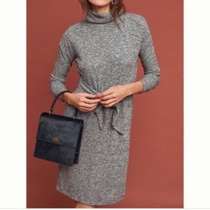 NWT Anthropologie Gray Tie Front Turtleneck Dress